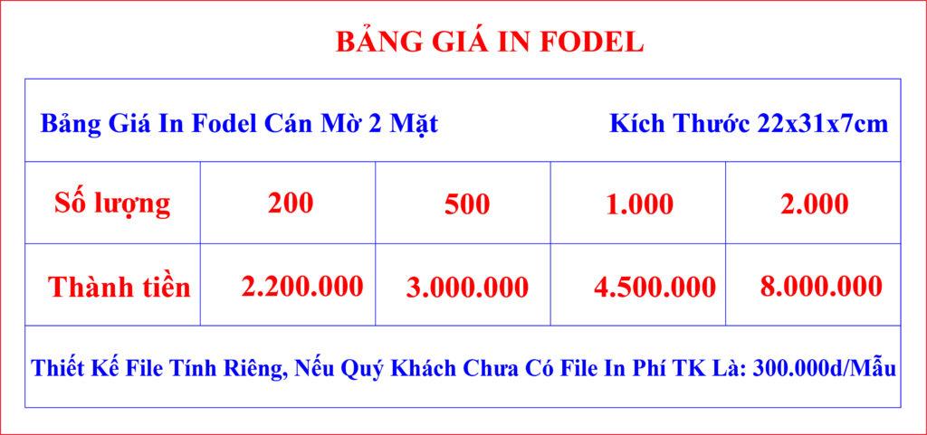 bảng giá fodel